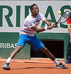 Gael Monfils (FRA loses the first set to Fabio Fognini (ITA) at  Roland Garros being played at Stade Roland Garros in Paris, France on May 31, 2014