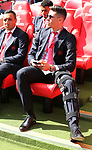 Gabriel Paulista of Arsenal sits with his leg in a brace during the Emirates FA Cup Final match at Wembley Stadium, London. Picture date: May 27th, 2017.Picture credit should read: David Klein/Sportimage