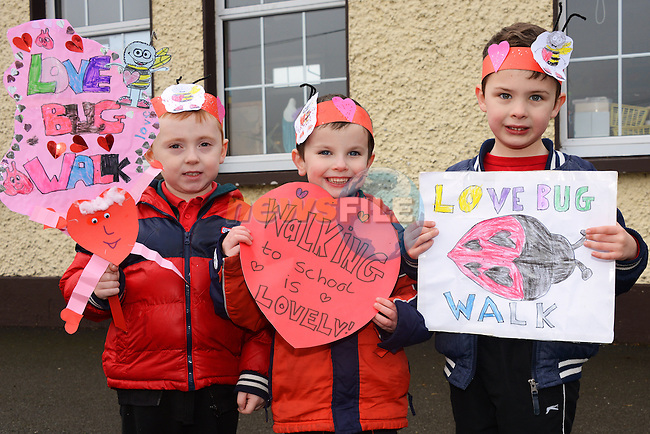 18/02/2014 – Collon NS Love Bug walk – from left: Finn Gillespie, Aaron Doyle Traynor and Lorcan O'Neill Haughey. Photo: Andy Spearman. www.newsfile.ie www.newsfile.ie