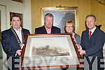 Former CEO of Killarney Tourism and Commerce Jerry O'Grady is presented a print of Ross Castle at his retirement in the International Hotel Killarney on Friday night l-r: Tom Randles President, Jerry O'Grady, Marie O'Grady and  Donnacha Galvin CEO