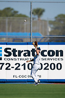 Michigan Wolverines center fielder Jonathan Engelmann (2) catches a fly ball during a game against Army West Point on February 18, 2018 at Tradition Field in St. Lucie, Florida.  Michigan defeated Army 7-3.  (Mike Janes/Four Seam Images)