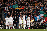 1st March 2020; Estadio Santiago Bernabeu, Madrid, Spain; La Liga Football, Real Madrid versus Club de Futbol Barcelona; Vinicius Junior (Real Madrid)  celebrates his goal which made it 1-0 in the 71st minute