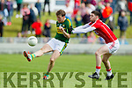 Donnchadh Walsh Kerry in action against Luke Connolly Cork in the National Football league in Austin Stack Park, Tralee on Sunday.