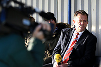 Kingstonian manager Hayden Bird awaits an interview during Kingstonian vs AFC Fylde, Emirates FA Cup Football at King George's Field on 30th November 2019