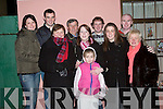 RESOLUTIONS: Ringing out the old year in The Square, Tarbert, on Sunday night were, l-r: Julie Dargan, Daniel, Celestine and Danny Gallagher, Niamh Fitzgerald, Brian Dargan, Cela Gallagher, Niall Behan and Mairead Fitzgerald and in front, Sarah Gallagher..