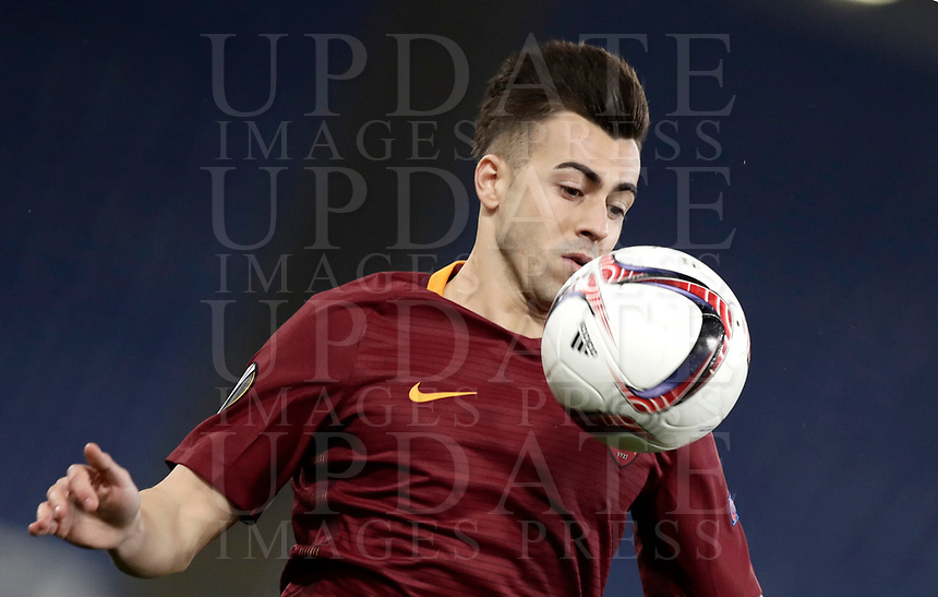 Football Soccer: Europa League Round of 16 second leg, Roma-Lyon, stadio Olimpico, Roma, Italy, March 16,  2017. <br /> Roma's Stephan El Shaarawy in action during the Europe League football soccer match between Roma and Lyon at the Olympique stadium, March 16,  2017. <br /> Despite losing 2-1, Lyon reach the quarter finals for 5-4 aggregate win.<br /> UPDATE IMAGES PRESS/Isabella Bonotto