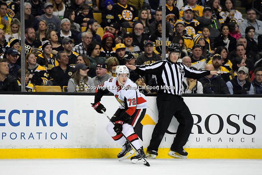 April 7, 2018: Ottawa Senators defenseman Thomas Chabot (72) plays the puck during the NHL game between the Ottawa Senators  and the Boston Bruins held at TD Garden, in Boston, Mass. Boston defeats Ottawa 5-2 Eric Canha/CSM