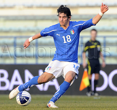 08.02.2011 England Under 21s were beaten by Italy Under 21s in Tuesday's friendly in Empoli as Manchester United youngster Federico Macheda scored from the penalty spot after Ben Mee was shown a straight red card for a foul on Niccolo Giannetti. Picture shows Riccardo.