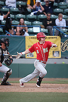 Jake Schleppenbach (6) of the Nebraska Cornhuskers bats against the Long Beach State Dirtbags in the first game of a doubleheader at Blair Field on March 5, 2016 in Long Beach, California. Long Beach State defeated Nebraska, 1-0. (Larry Goren/Four Seam Images)