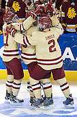 Destry Straight (BC - 17), Chris Kreider (BC - 19), Brian Dumoulin (BC - 2), Patrick Wey (BC - 6) - The Boston College Eagles defeated the University of Minnesota Duluth Bulldogs 4-0 to win the NCAA Northeast Regional on Sunday, March 25, 2012, at the DCU Center in Worcester, Massachusetts.