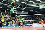 05.10.2019, Halle Berg Fidel, Muenster<br />Volleyball, Bundesliga Frauen, Normalrunde, USC MŸnster / Muenster vs. Allianz MTV Stuttgart<br /><br />Aufschlag / Service Sarah Emma van Aalen (#10 Muenster)<br /><br />  Foto © nordphoto / Kurth