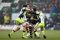 Api Ratuniyarawa of Northampton Saints takes on the Sale Sharks defence. Aviva Premiership match, between Northampton Saints and Sale Sharks on March 3, 2018 at Franklin's Gardens in Northampton, England. Photo by: Patrick Khachfe / JMP