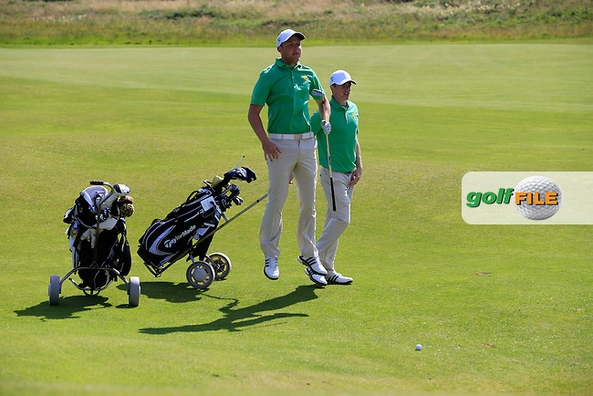 Paul McBride (IRL) and Stuart Grehan (IRL) during the Home Internationals day 2 foursomes matches supported by Fairstone Financial Management Ltd. at Royal Portrush Golf Club, Portrush, Co.Antrim, Ireland.  13/08/2015.<br /> Picture: Golffile | Fran Caffrey<br /> <br /> <br /> All photo usage must carry mandatory copyright credit (&copy; Golffile | Fran Caffrey)
