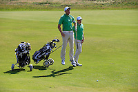 Paul McBride (IRL) and Stuart Grehan (IRL) during the Home Internationals day 2 foursomes matches supported by Fairstone Financial Management Ltd. at Royal Portrush Golf Club, Portrush, Co.Antrim, Ireland.  13/08/2015.<br /> Picture: Golffile   Fran Caffrey<br /> <br /> <br /> All photo usage must carry mandatory copyright credit (© Golffile   Fran Caffrey)