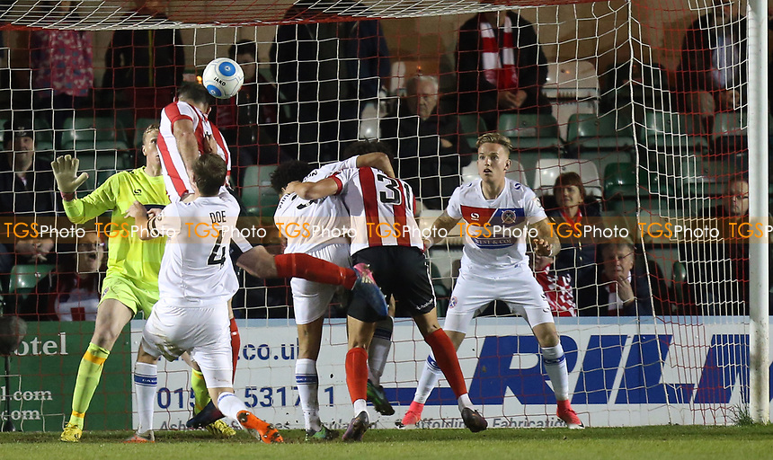 Matt Rhead of Lincoln City scores the second goal during Lincoln City vs Dagenham & Redbridge, Vanarama National League Football at the Gelder Group Sincil Bank Stadium on 3rd April 2017