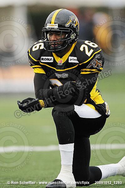 October 12, 2009; Hamilton, ON, CAN; Hamilton Tiger-Cats defensive back Chris Thompson (26). CFL football: Winnipeg Blue Bombers vs. Hamilton Tiger-Cats at Ivor Wynne Stadium. The Blue Bombers defeated the Tiger-Cats 38-28. Mandatory Credit: Ron Scheffler. Copyright (c) 2009 Ron Scheffler.