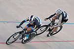 September 17, 2015 - Colorado Springs, Colorado, U.S. - Marian University's, Daniel Nesbitt (l), and University of Colorado's, Andre Szlendak (r), at full speed during a qualifying round during the USA Cycling Collegiate Track National Championships, United States Olympic Training Center Velodrome, Colorado Springs, Colorado.