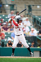 Rochester Red Wings shortstop Wilfredo Tovar (4) at bat during a game against the Columbus Clippers on June 16, 2016 at Frontier Field in Rochester, New York.  Rochester defeated Columbus 6-2.  (Mike Janes/Four Seam Images)