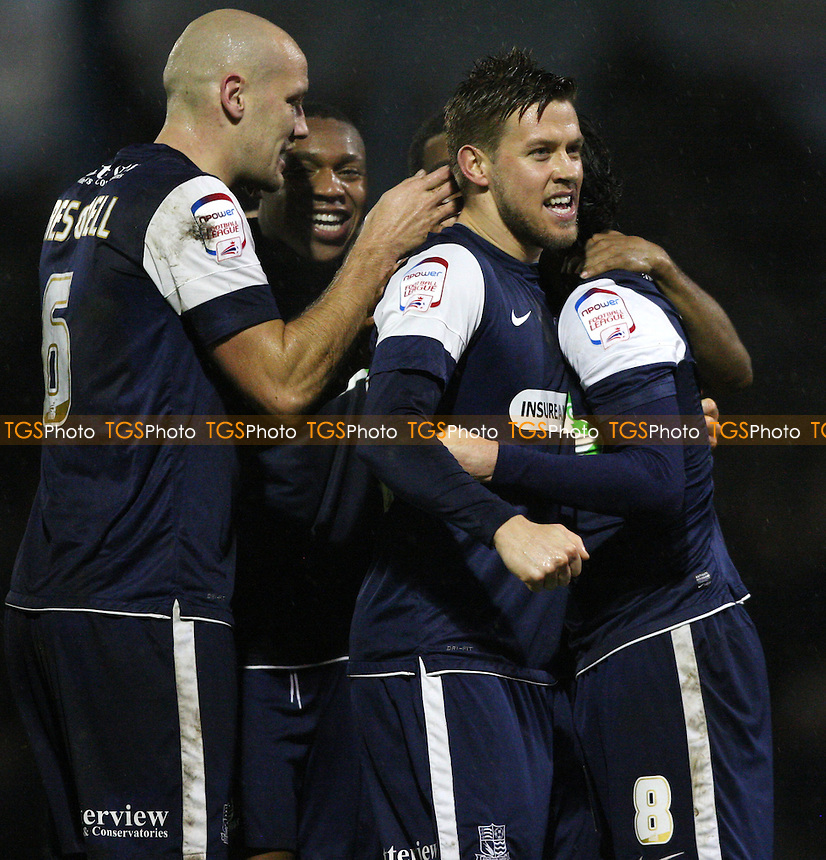 Gavin Tomlin is congratulated after scoring the 2nd goal for Southend - Southend United vs Rochdale, League 2 at Roots Hall, Southend - 24/11/12 - MANDATORY CREDIT: Rob Newell/TGSPHOTO - Self billing applies where appropriate - 0845 094 6026 - contact@tgsphoto.co.uk - NO UNPAID USE.