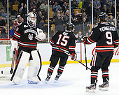Chris Rawlings (NU - 37), Kevin Roy (NU - 15), Garrett Vermeersch (NU - 9) - The Northeastern University Huskies defeated the Boston University Terriers 3-2 in the opening round of the 2013 Beanpot tournament on Monday, February 4, 2013, at TD Garden in Boston, Massachusetts.