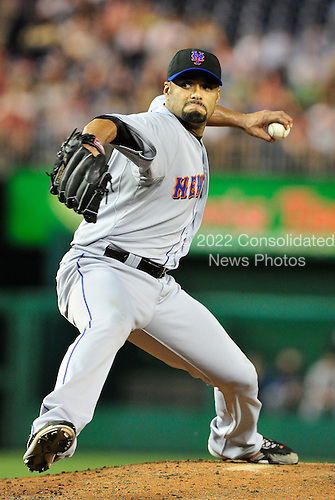 New York Mets pitcher Johan Santana (57) works in the seventh inning against the Washington Nationals at Nationals Park in Washington, D.C. on Thursday, July 1, 2010. The Nationals won on a walk-off sacrifice fly 2 - 1..Credit: Ron Sachs / CNP.(RESTRICTION: NO New York or New Jersey Newspapers or newspapers within a 75 mile radius of New York City)