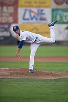 Ogden Raptors relief pitcher Connor Mitchell (16) follows through on his delivery a Pioneer League game against the Great Falls Voyagers at Lindquist Field on August 23, 2018 in Ogden, Utah. The Ogden Raptors defeated the Great Falls Voyagers by a score of 8-7. (Zachary Lucy/Four Seam Images)