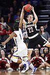SIOUX FALLS, SD - MARCH 7:  Alexis Alexander #1 of South Dakota State and Mikaela Shaw #22 of Omaha fight for the ball in the 2016 Summit League Tournament. (Photo by Dick Carlson/Inertia)
