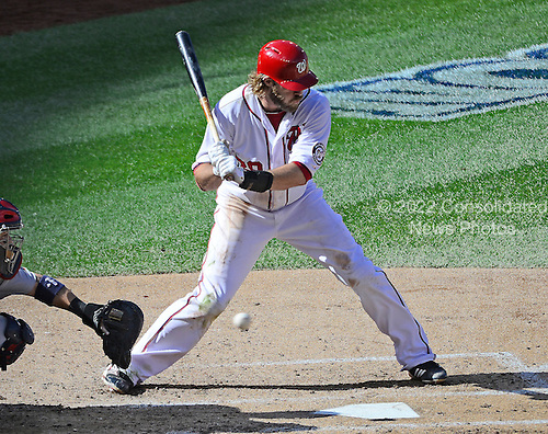 Washington Nationals right fielder Jayson Werth (28) takes a pitch as he bats in the fifth inning of game 3 of the NLDS against the St Louis Cardinals at Nationals Park  in Washington, D.C. on Wednesday, October 10, 2012.  The Cardinals won the game 8 - 0..Credit: Ron Sachs / CNP