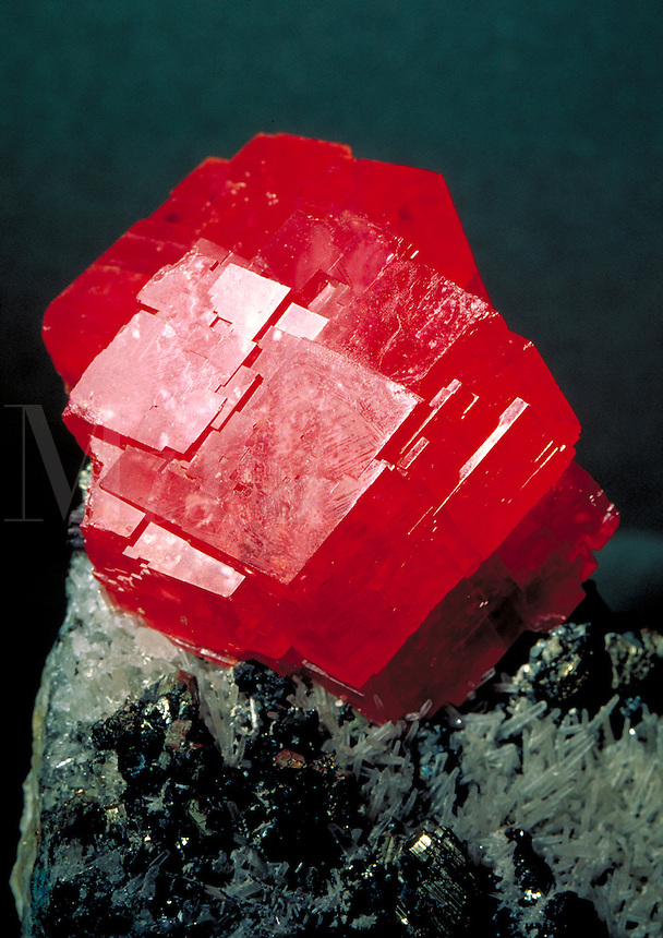 Rhodochrosite; carbonate-hexagonal; collected in Colorado. Collection of the Museum of Natural Science, Houston. Houston Texas.