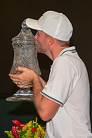 Russell Henley (USA) kisses the trophy for winning the Shell Houston Open, Golf Club of Houston, Houston, Texas, USA. 4/2/2017.<br /> Picture: Golffile | Ken Murray<br /> <br /> <br /> All photo usage must carry mandatory copyright credit (&copy; Golffile | Ken Murray)