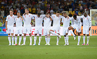 FUSSBALL  EUROPAMEISTERSCHAFT 2012   VIERTELFINALE England - Italien                     24.06.2012 Enttaeuschte Englaender: Jordan Henderson, Theo Walcott, Andy Carroll, Glen Johnson, Wayne Rooney, Jordan Henderson, Ashley Cole, Joleon Lescott, Ashley Young (v.l., alle England)