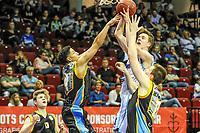 GRONINGEN - Basketbal, Donar - Den Helder Suns, Dutch Basketbal League, seizoen 2018-2019, 20-04-2019, Donar speler Tim Hoeve in duel met Den Helder speler Leon Williams