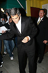 AbilityFilms@yahoo.com 805-427-3519.www.AbilityFilms.com.03-31-08 George Clooney leaving Dan tanas italian restaurant in hollywood with girlfriend sarah larson George stopped and joked around with the autograph collectors and it looks like he almost tripped over one them as he walked to his car.