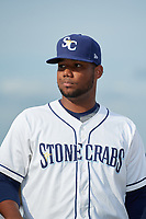 Charlotte Stone Crabs pitcher Orlando Romero (29) during introductions before a Florida State League game against the Fort Myers Miracle on April 6, 2019 at Charlotte Sports Park in Port Charlotte, Florida.  Fort Myers defeated Charlotte 7-4.  (Mike Janes/Four Seam Images)