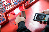 A gateman scans a season ticket after Lincoln City introduced a new ticketing system during the summer<br /> <br /> Photographer Chris Vaughan/CameraSport<br /> <br /> The EFL Sky Bet League Two - Lincoln City v Morecambe - Saturday August 12th 2017 - Sincil Bank - Lincoln<br /> <br /> World Copyright &copy; 2017 CameraSport. All rights reserved. 43 Linden Ave. Countesthorpe. Leicester. England. LE8 5PG - Tel: +44 (0) 116 277 4147 - admin@camerasport.com - www.camerasport.com