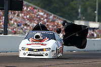 Aug. 18, 2013; Brainerd, MN, USA: NHRA pro stock driver Mike Edwards during the Lucas Oil Nationals at Brainerd International Raceway. Mandatory Credit: Mark J. Rebilas-