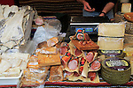 Display of fish, meat and cheese products on market stall, Algeciras, Spain