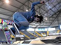 BOGOTA - COLOMBIA - 13 - 08 - 2017: Pedro Cruz, Skater de Puerto Rico, durante competencia en el Primer Campeonato Panamericano de Skateboarding, que se realiza en el Palacio de los Deportes en la Ciudad de Bogota. / Pedro Cruz, Skater from Puerto Rico, during a competitions in the First Pan American Championship of Skateboarding, that takes place in the Palace of Sports in the City of Bogota. Photo: VizzorImage / Luis Ramirez / Staff.