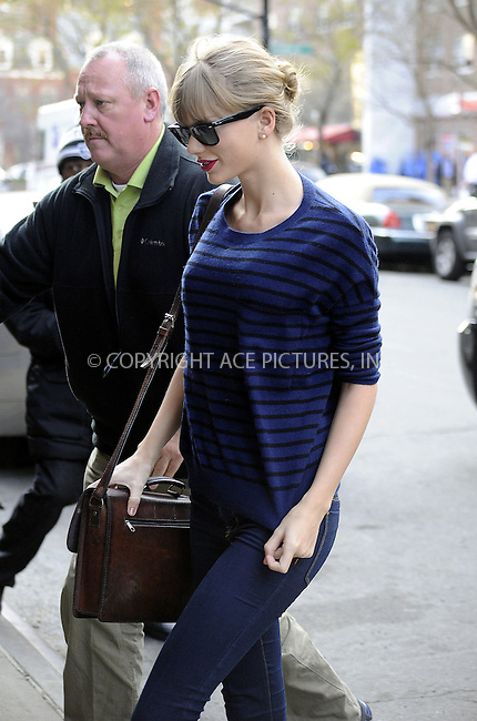 WWW.ACEPIXS.COM....Decemebr 3 2012, New York City....Singer Taylor Swift at her downtown hotel on December 3 2012 in New York City......By Line: Curtis Means/ACE Pictures......ACE Pictures, Inc...tel: 646 769 0430..Email: info@acepixs.com..www.acepixs.com