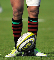 Hendon, England. LV=CUP match ball during the LV= Cup match for the first professional rugby game on the artificial turf pitch made for rugby between Saracens and Cardiff Blues at Allianz Park Stadium on January 27, 2013 in Hendon, England.