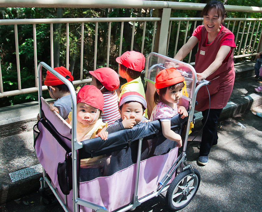 This is how Japanese kinder gardens transport their children when venturing outside.
