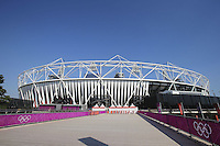 25.07.2012 London, England. The Olympic Stadium in the Olympic park in Stratford just two days before the official Opening Ceremony.