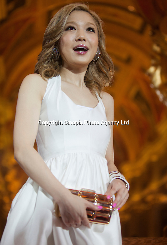 Nishino Kana, winner of the Most Influnetial Japanese Singer Award, from Japan is seen on the red carpet at the 18th Channel [V] China Music Awards and Asian Influential Power Grand Ceremony at the Venetian Macau Casino in Macau, China, 23 April 2014