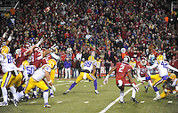 NWA Media/ANDY SHUPE - LSU's Colby Delahoussaye (42) misses a field goal against Arkansas during the second quarter Saturday, Nov. 15, 2014, at Razorback Stadium in Fayetteville.