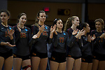 GRAND RAPIDS, MI - NOVEMBER 18: Claremont-Mudd-Scripps players applaud during the Division III Women's Volleyball Championship held at Van Noord Arena on November 18, 2017 in Grand Rapids, Michigan. Claremont-M-S defeated Wittenberg 3-0 to win the National Championship. (Photo by Doug Stroud/NCAA Photos via Getty Images)
