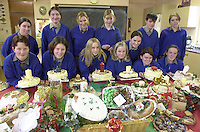 Students from Miltown Secondary School pictured with their Christmas Fayre of cakes, puddings and chocolate logs which they prepared for next weekends festivities. Included are from left, Rachel O'Shea, Catherine Sheehan, Catriona O'Grady, Noelle Savage, Catherine Doyle, Dara Laverty, Rose O'Meara, Selina O'Grady, Karen Moriarty, Marie O'Connell, Eoin O'Sullivan, Sharon Healy and Cara O'Sullivan.<br />