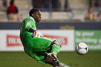 Chicago Fire goalkeeper Sean Johnson (25). The Chicago Fire defeated the Philadelphia Union 3-1 during a Major League Soccer (MLS) match at PPL Park in Chester, PA, on August 12, 2012.