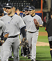 (R-L) Masahiro Tanaka, Brian McCann (Yankees),<br /> MAY 14, 2014 - MLB :<br /> Pitcher Masahiro Tanaka of the New York Yankees high-fives his teammates after the Major League Baseball game against the New York Mets at Citi Field in Flushing, New York, United States. He posted his sixth win of the season with his first shutout in the MLB. (Photo by AFLO)