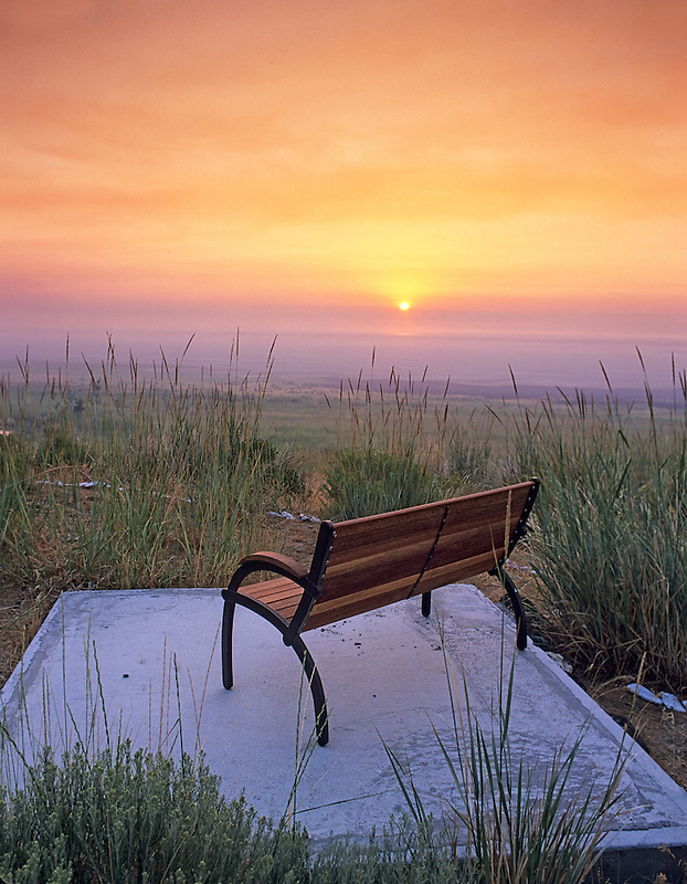 Bench and sunrise. Summer Lake Inn, Oregon