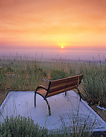 Bench and sunrise. Summer Lake Inn, Oregon
